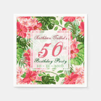 Red Hibiscus 50th Birthday Party Paper Napkin
