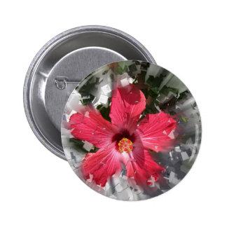 Red Hibiscus 6 Cm Round Badge