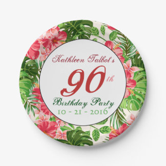 Red Hibiscus 90th Birthday Party Paper Plate