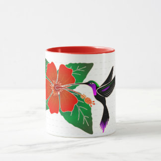 Red Hibiscus and Hummingbird Mug