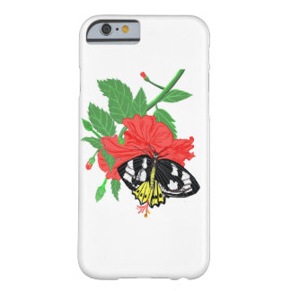 Red Hibiscus and Ornitopthera Butterfly Barely There iPhone 6 Case