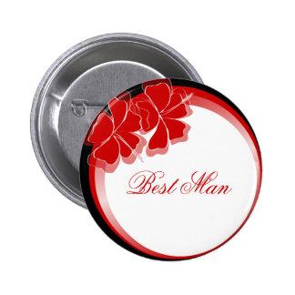 Red Hibiscus Best Man Badge