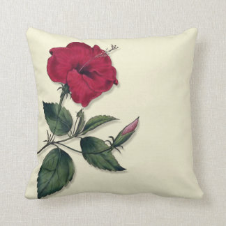 Red Hibiscus Blossom Cushion
