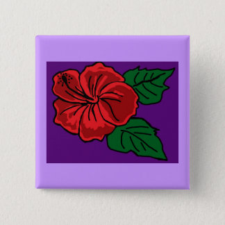 Red Hibiscus button