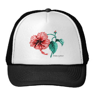 Red Hibiscus Drawing Mesh Hats