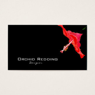 Red hibiscus exotic florist wedding business card