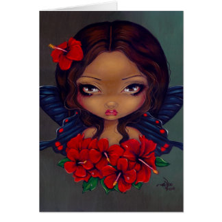 """Red Hibiscus Fairy"" Greeting Card"