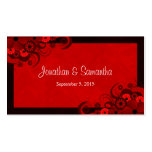 Red Hibiscus Floral Custom Wedding Favour Tags