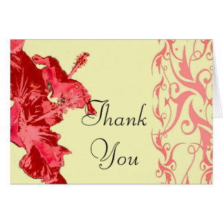 Red hibiscus floral Thank You Card