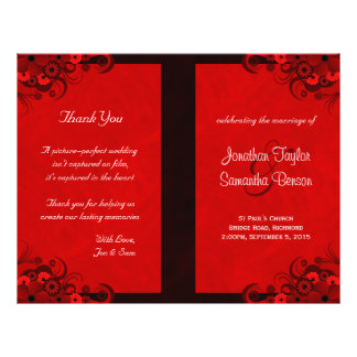 Red Hibiscus Floral Wedding Program Templates Personalized Flyer