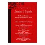 Red Hibiscus Floral Wedding Program Templates Custom Invite