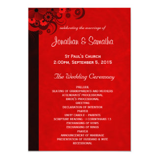 "Red Hibiscus Floral Wedding Program Templates 5"" X 7"" Invitation Card"