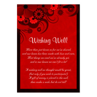Red Hibiscus Floral Wedding Wishing Well Cards Business Cards