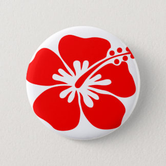 Red hibiscus flower 6 cm round badge