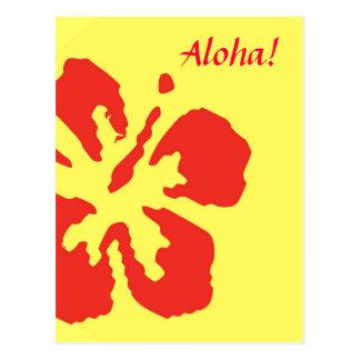 Red Hibiscus Flower Custom Design Postcard