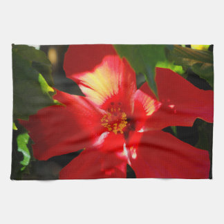 Red Hibiscus Flower in Sunlight Tea Towel