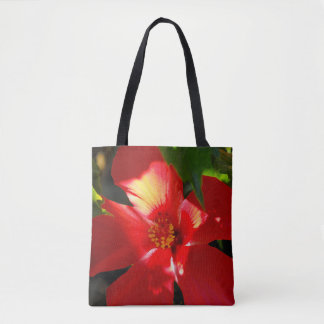 Red Hibiscus Flower in Sunlight Tote Bag