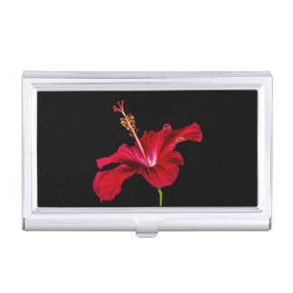 Red Hibiscus Flower Side View Business Card Case