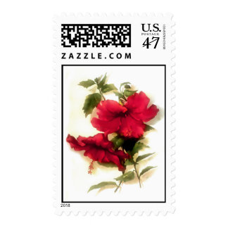 Red hibiscus flower USA postage stamp.