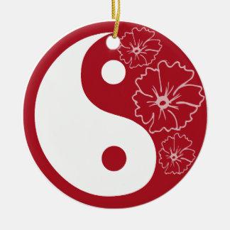 Red Hibiscus Flower Yin Yang Round Ceramic Decoration