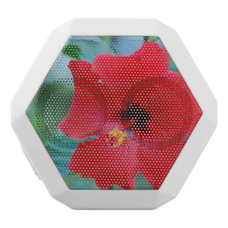 Red Hibiscus Flowers White Boombot Rex Bluetooth Speaker