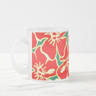 Red Hibiscus Flowers Tropical Hawaiian Luau Frosted Glass Mug
