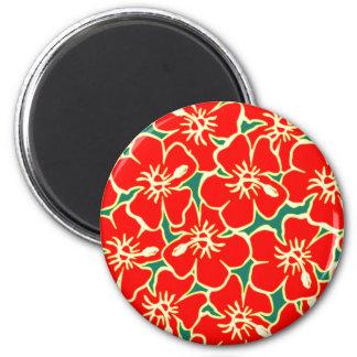 Red Hibiscus Flowers Tropical Hawaiian Luau Refrigerator Magnet