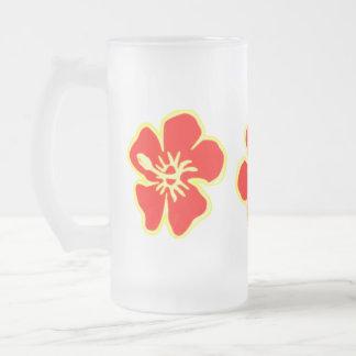 Red Hibiscus Flowers Tropical Hawaiian Luau Party Glass Beer Mug