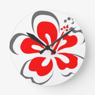 Red hibiscus Hawaii theme gifts Round Clock