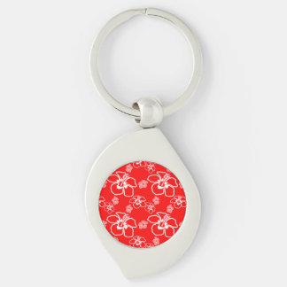 Red Hibiscus Hawaiian Pattern Key Ring
