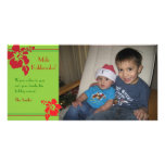 Red Hibiscus Holiday Christmas Photo Card