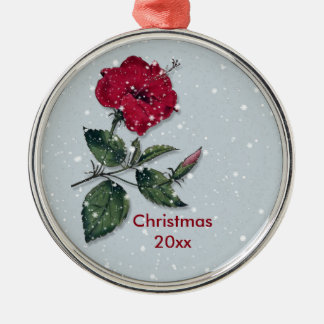 Red Hibiscus in Snow Christmas Christmas Ornament