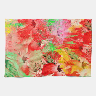 "Red Hibiscus Kitchen Towel 16"" x 24"""