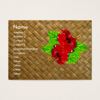 Red Hibiscus Lauhala Business Cards Chubby