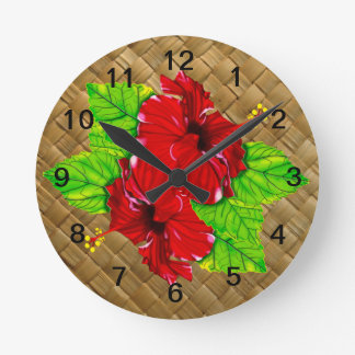 Red Hibiscus Lauhala Wall Clock
