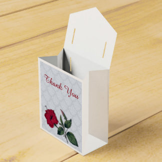 Red Hibiscus on lacy background Favour Box