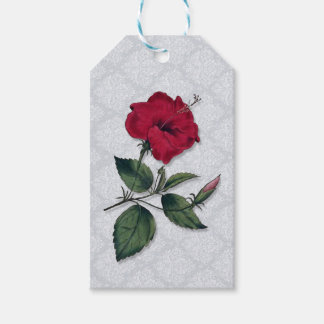 Red Hibiscus on lacy background Gift Tags