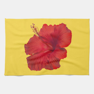 Red Hibiscus on Lemon Zest Yellow Template Tea Towel