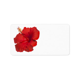 Red Hibiscus on White- Customized Template Label