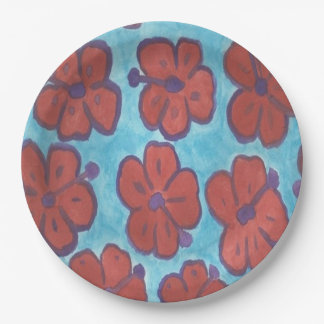 Red Hibiscus Pattern Paper Plates