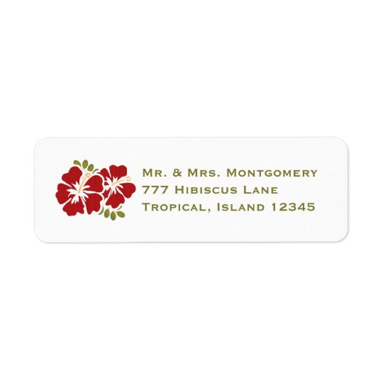 Red Hibiscus Return Address Labels Custom