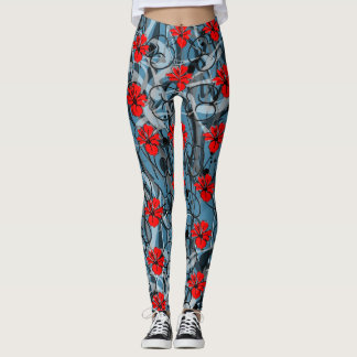 Red Hibiscus seychelles Leggings