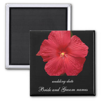 Red Hibiscus Square Magnet