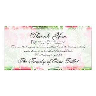 Red Hibiscus Sympathy Thank you Photo Card