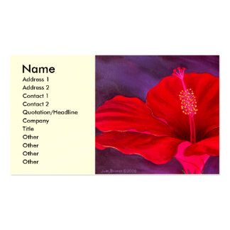 Red Hibiscus Tropical Flower Painting - Multi Pack Of Standard Business Cards