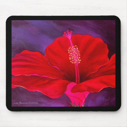Red Hibiscus Tropical Flower Painting - Multi Mouse Pad