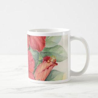 Red Hibiscus Tropical Flower Painting - Multi Coffee Mug