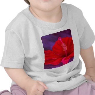 Red Hibiscus Tropical Flower Painting - Multi Tshirts