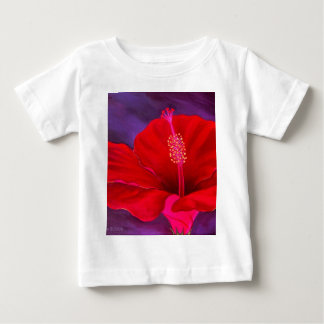 Red Hibiscus Tropical Flower Painting - Multi Tshirt