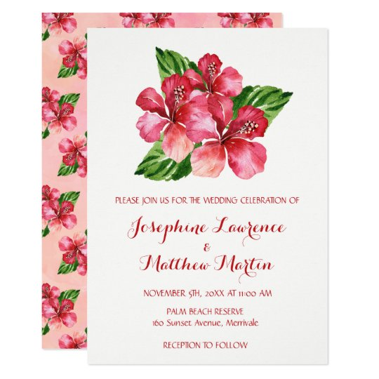 Red Hibiscus Watercolor Wedding Invitations
